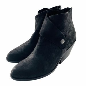 Eileen Fisher Tag Wrap Snap Leather Ankle Boot | 6